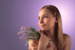 Beautiful woman with lavender Royalty Free Stock Photography