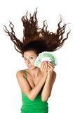 Beautiful woman ld hold moey euro hair dishevelle stock image