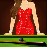 Beautiful woman leaning on a pool table Royalty Free Stock Photography