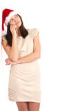 Beautiful woman leaning on a white Royalty Free Stock Photography