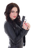 Beautiful woman in leather jacket with gun isolated on white Royalty Free Stock Image