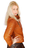 Beautiful woman in leather jacket posing Stock Image