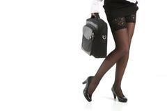 Beautiful woman legs in black stockings Stock Photo