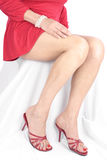 Beautiful woman legs and feet wearing short dress. Beautiful woman legs and feet wearing short red dress over white background Stock Photo
