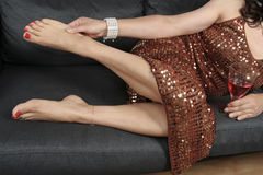 Beautiful woman  legs relaxing with   dress Stock Photos