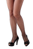Beautiful woman legs in stockings. On high heels. OVer white Royalty Free Stock Photo