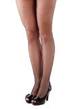 Beautiful woman legs in stockings. On high heels. OVer white Royalty Free Stock Photos
