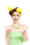 Beautiful woman in Lemon Lime Royalty Free Stock Images