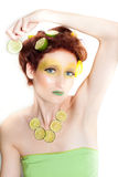 Beautiful woman in Lemon Lime Royalty Free Stock Photography