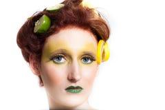 Beautiful woman in Lemon Lime Stock Photo