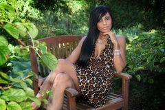 Beautiful Woman. A beautiful woman in a leopard dress Royalty Free Stock Photography
