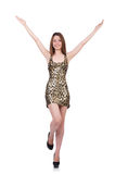 Beautiful woman in leopard dress isolated on white Stock Photos