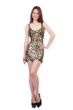 Beautiful woman in leopard dress isolated on white Stock Photo