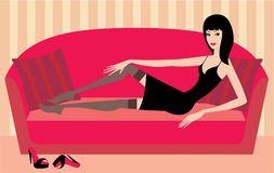 Beautiful woman lies on a sofa. vector Royalty Free Stock Photography
