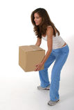 Beautiful Woman Lifting Box 2 Royalty Free Stock Photos