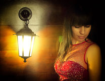 Beautiful woman in a light bulb Royalty Free Stock Images