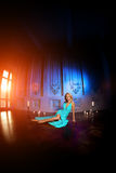 Beautiful woman like a princess in the palace. Luxurious rich fa Stock Images