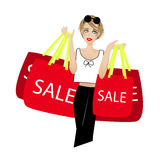 Beautiful woman like to shopping in sale season Stock Images