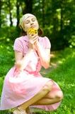 Beautiful woman on lilac Stock Photos