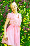 Beautiful woman on lilac Royalty Free Stock Image