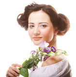 Beautiful woman with lilac  flower Royalty Free Stock Photos