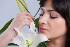 Beautiful woman with lily Royalty Free Stock Images