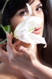 Beautiful woman with lily Royalty Free Stock Photo