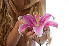 Beautiful woman  with lily Royalty Free Stock Image