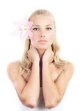 Beautiful woman with lily flower Stock Photo