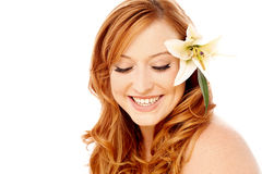 Beautiful woman with lily flower Royalty Free Stock Photography