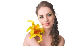 Beautiful woman with lily Royalty Free Stock Photos