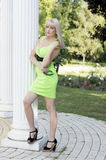 The beautiful woman in the lime embraces a column Stock Photos