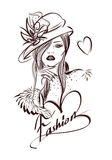 Beautiful woman line art illustration with accessories Stock Photography