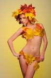 Beautiful woman in lingerie of autumn leaves Royalty Free Stock Image