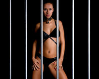 Beautiful woman in lingerie in bondage style Royalty Free Stock Photo