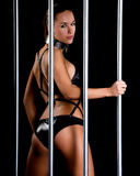 Beautiful woman in lingerie in bondage style Royalty Free Stock Photos