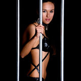Beautiful woman in lingerie in bondage style Stock Image