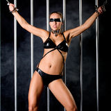 Beautiful woman in lingerie in bondage style Royalty Free Stock Photography