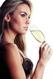 Beautiful woman in lingerie drinking champagne Royalty Free Stock Photos