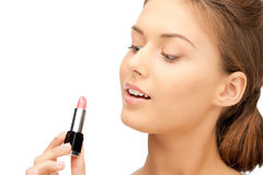 Beautiful woman with lipstick Royalty Free Stock Images