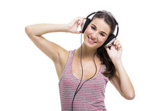 Beautiful woman listen music Royalty Free Stock Photography