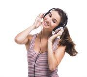 Beautiful woman listen music Stock Photos