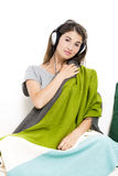 Beautiful woman listen music Stock Photography