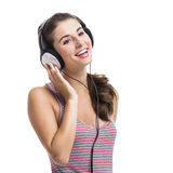 Beautiful woman listen music Stock Photos