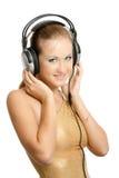 Beautiful Woman Listening Music Royalty Free Stock Photography