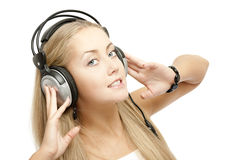 Beautiful Woman Listening Music Stock Photography