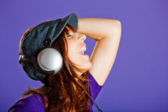 Beautiful woman listening music Stock Photos