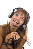 Beautiful Woman Listening Music Royalty Free Stock Image