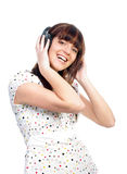 Beautiful woman listening music Royalty Free Stock Photography
