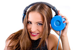 Beautiful woman listening music Royalty Free Stock Images
